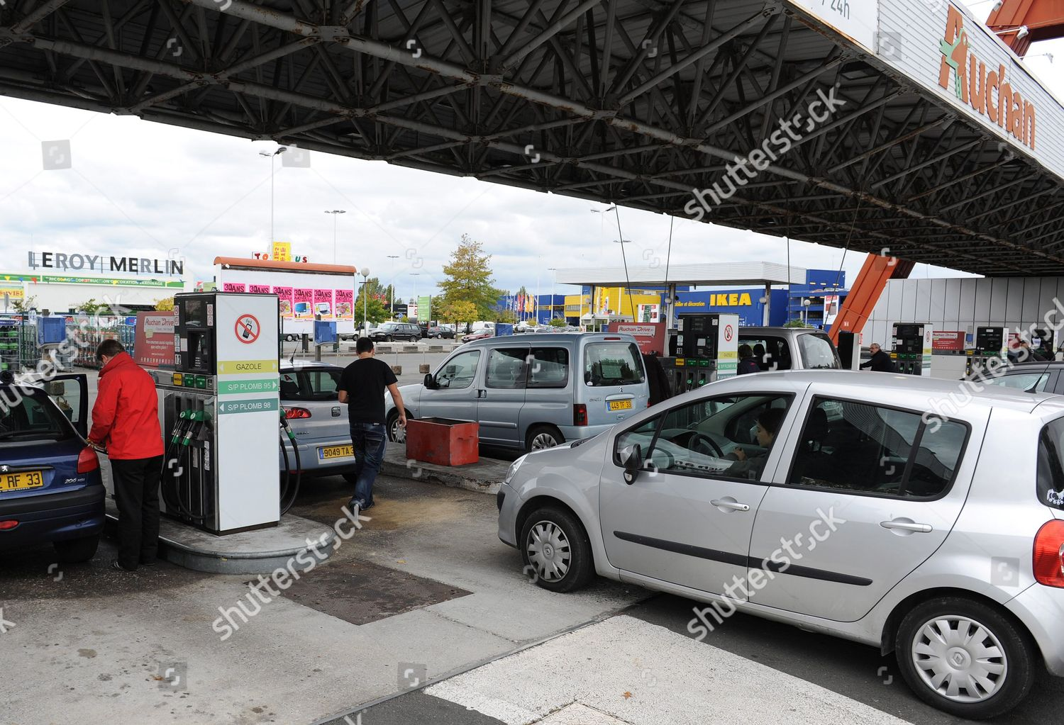 Motorists Refuel Their Cars Auchan Gas Station Editorial