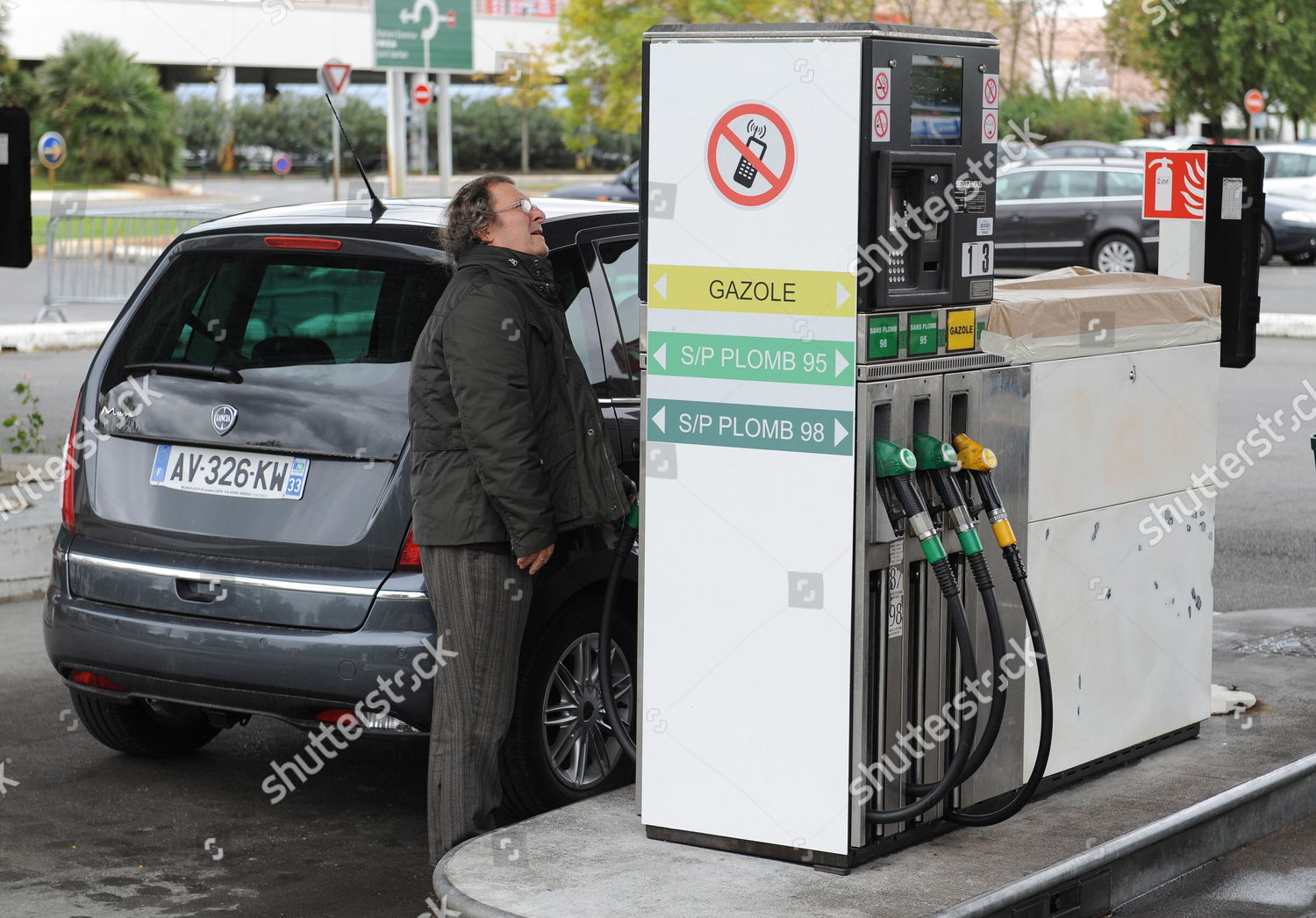 Motorist About Refuel His Car Auchan Gas Editorial Stock