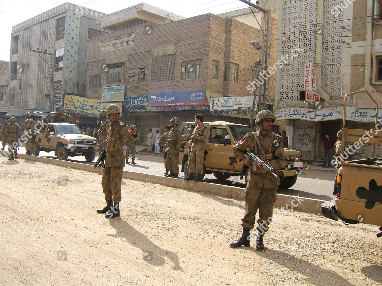 Pakistani Army Patrol Hyderabad Sindh Province Pakistan