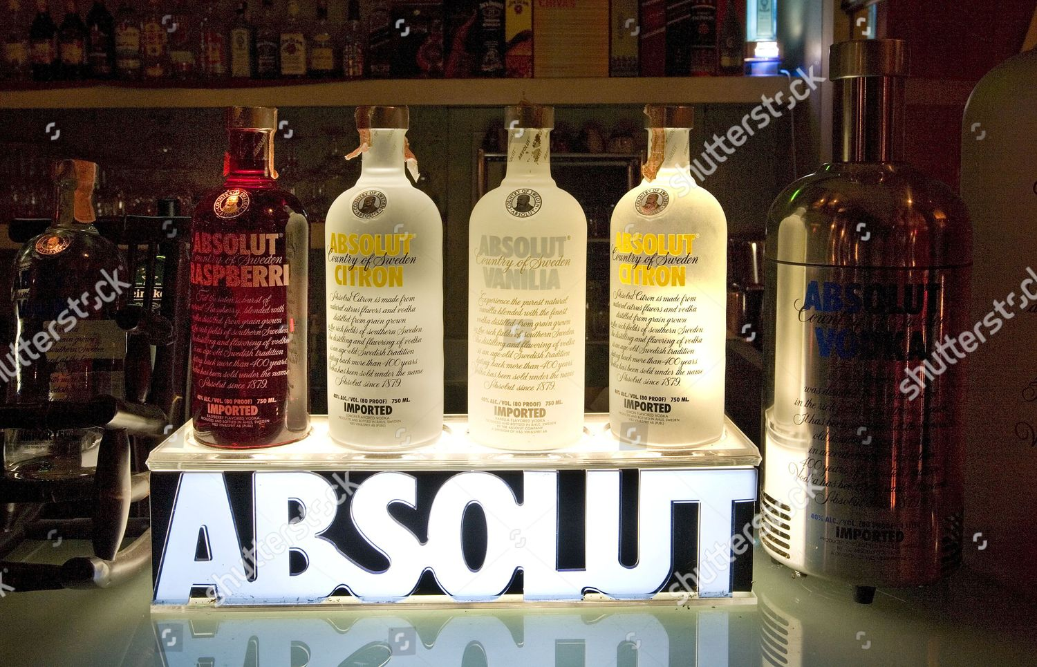 Different flavours Absolut Vodka on offer Dalaabaa Editorial Stock