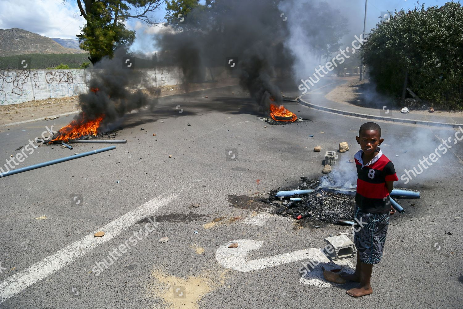 South African Boy Looks Protesters Front Burning Editorial