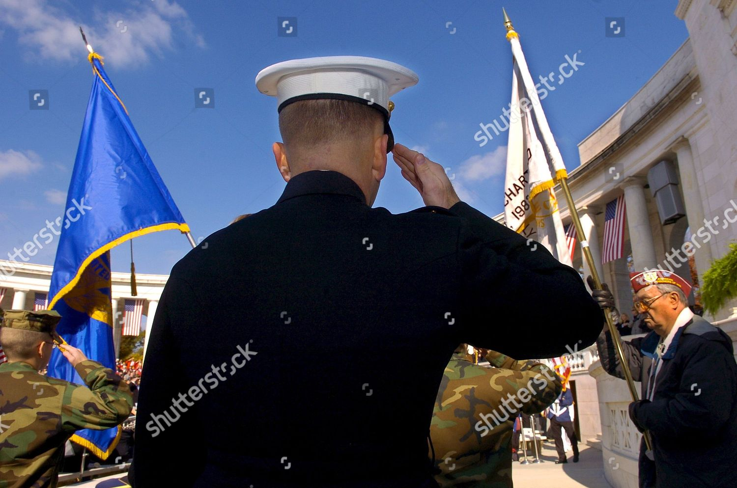 U S Marine Salutes Honor Guard Flags Editorial Stock Photo - Stock