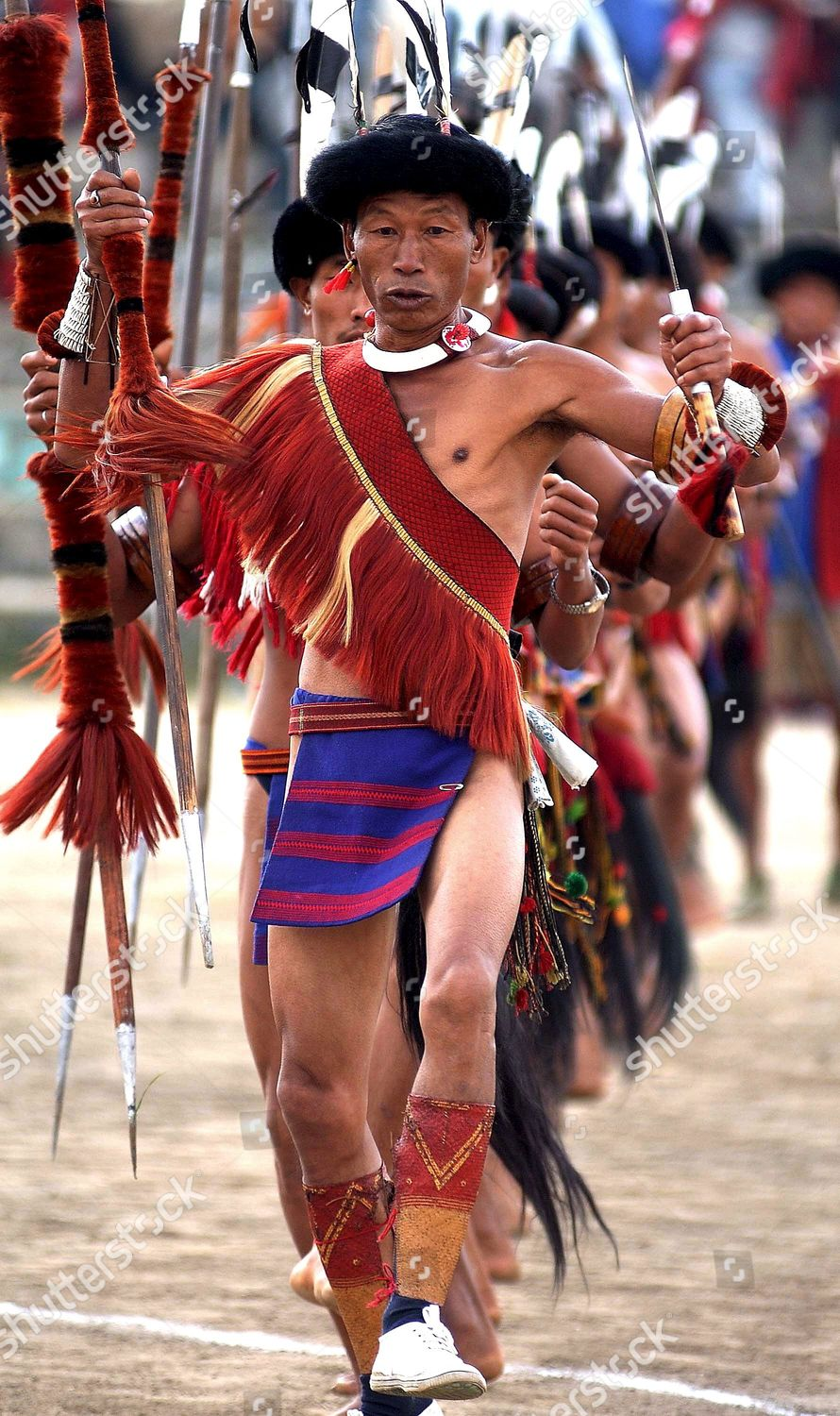 Naga Tribe Men Performing Their Traditional Dance Editorial Stock