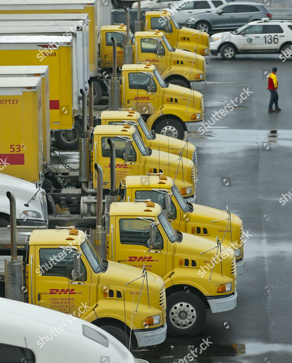 Dhl Trucks Sit New Cargo Facility That Editorial Stock Photo