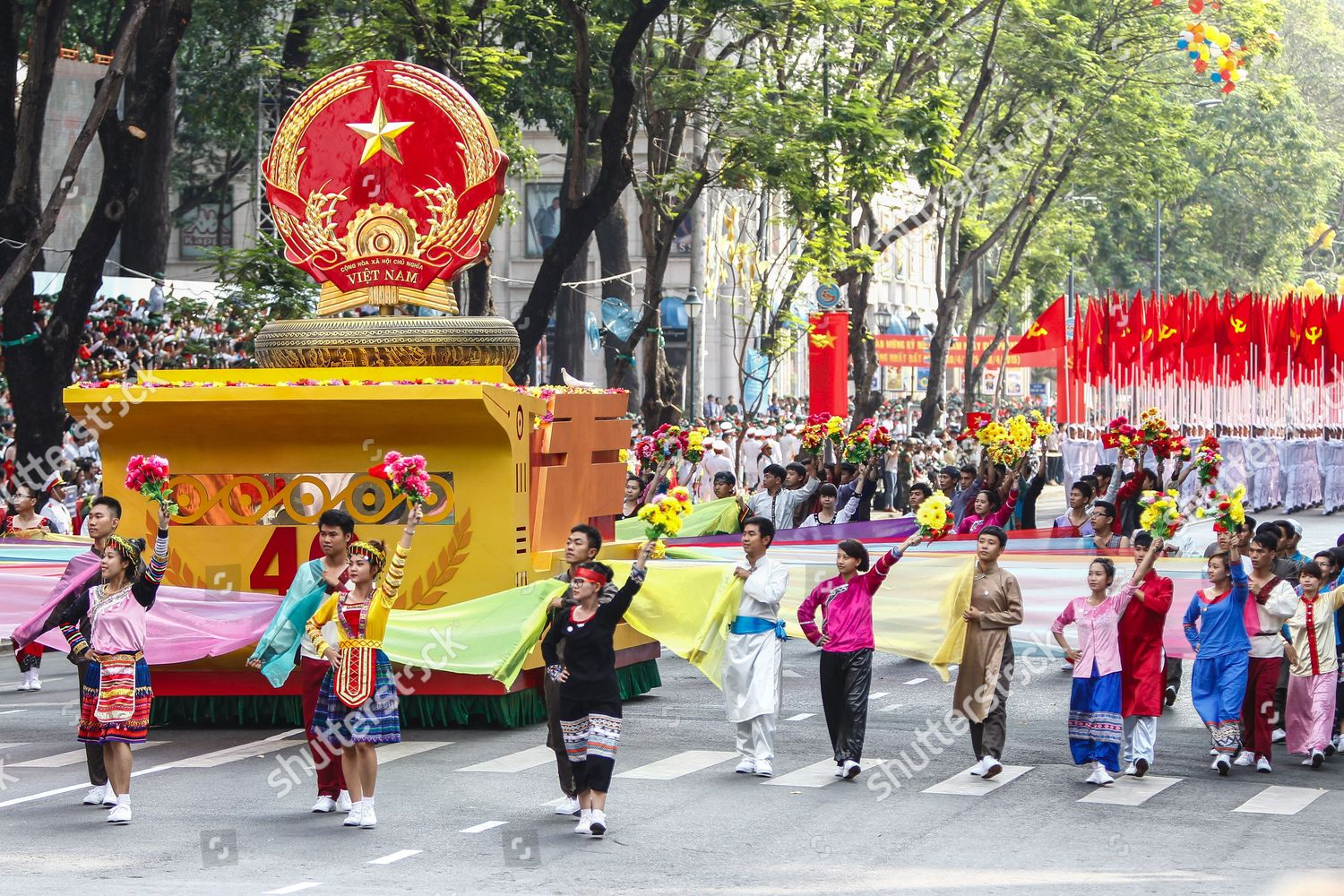 People Dressed Ethnic Minorities March During Parade Editorial Stock