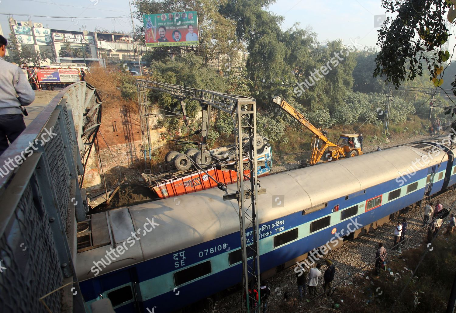Train Passes by Recovery Work Progress Remove Editorial