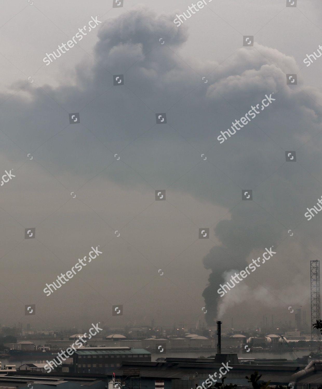 Plumes Smoke Rise Into Sky Oil Tank Editorial Stock Photo - Stock