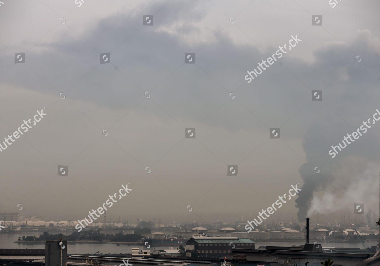 General View Jurong Island Plumes Smoke Rising Editorial Stock Photo