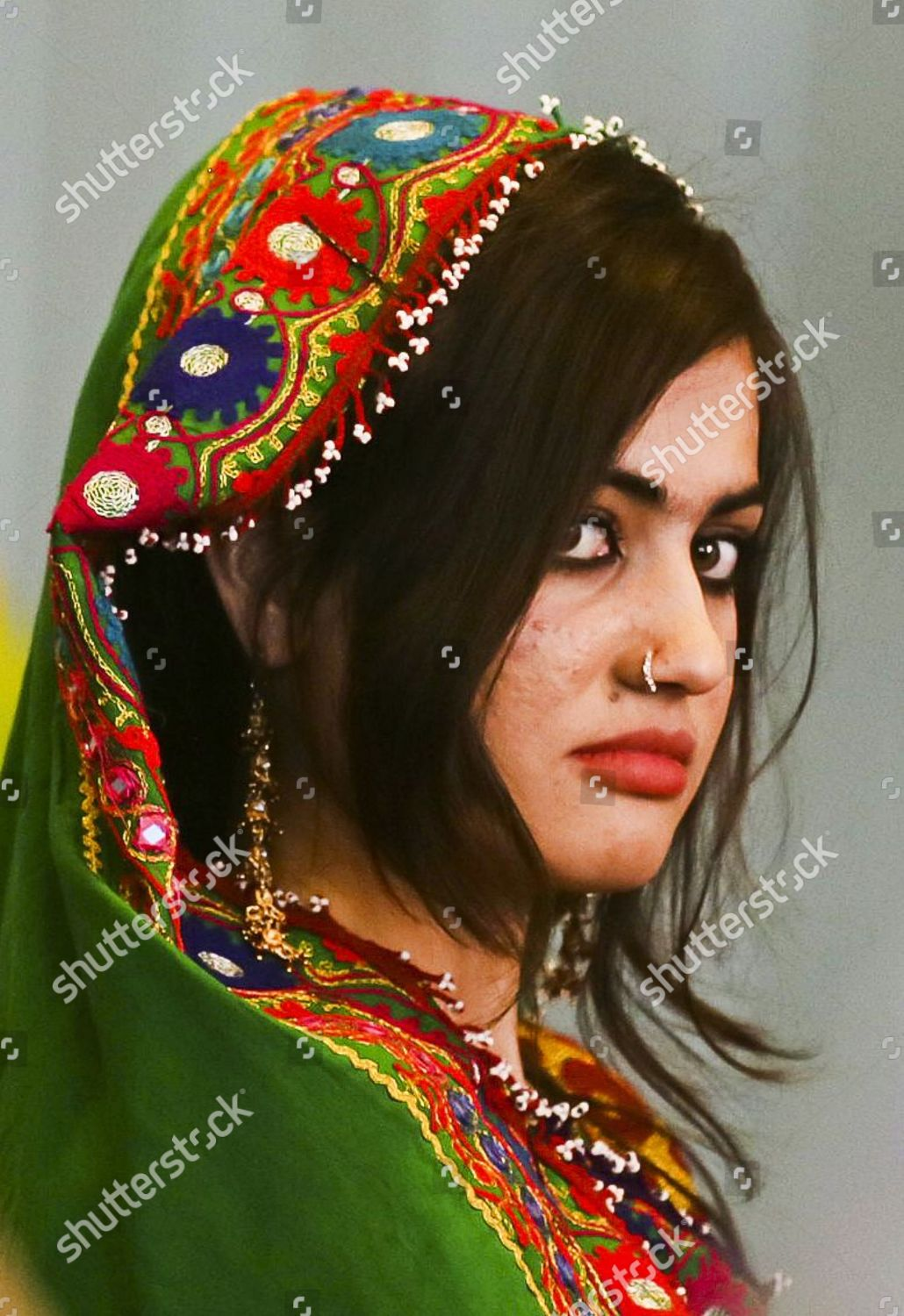 Afghan Girl Dressed Traditional Costumes Waits Welcome Editorial