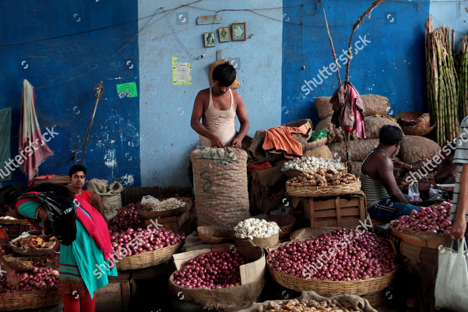 Indian Onion Vendor c Sells Onions Wholesale Editorial Stock