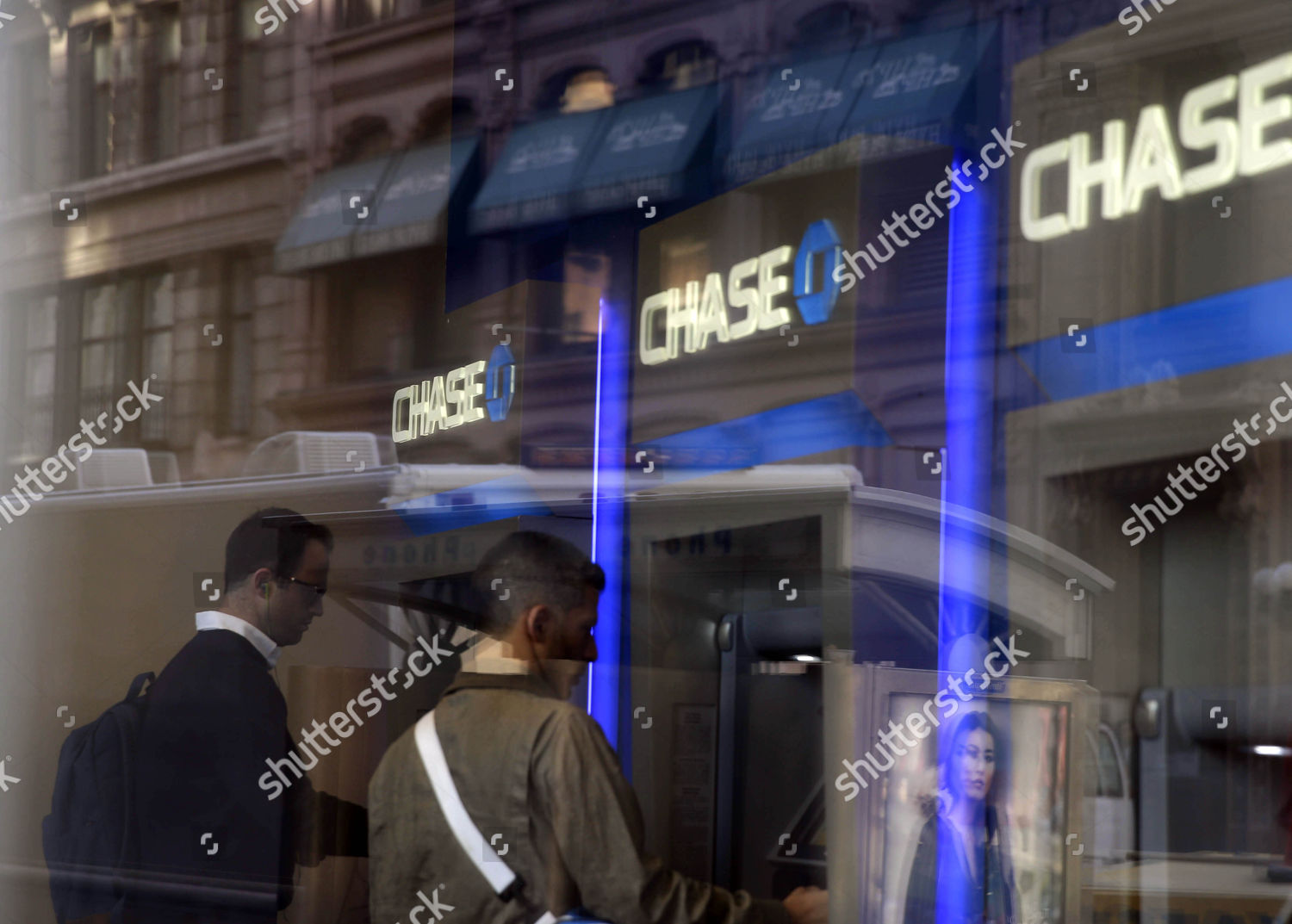People Use Atm Chase Branch New York Editorial Stock Photo - Stock