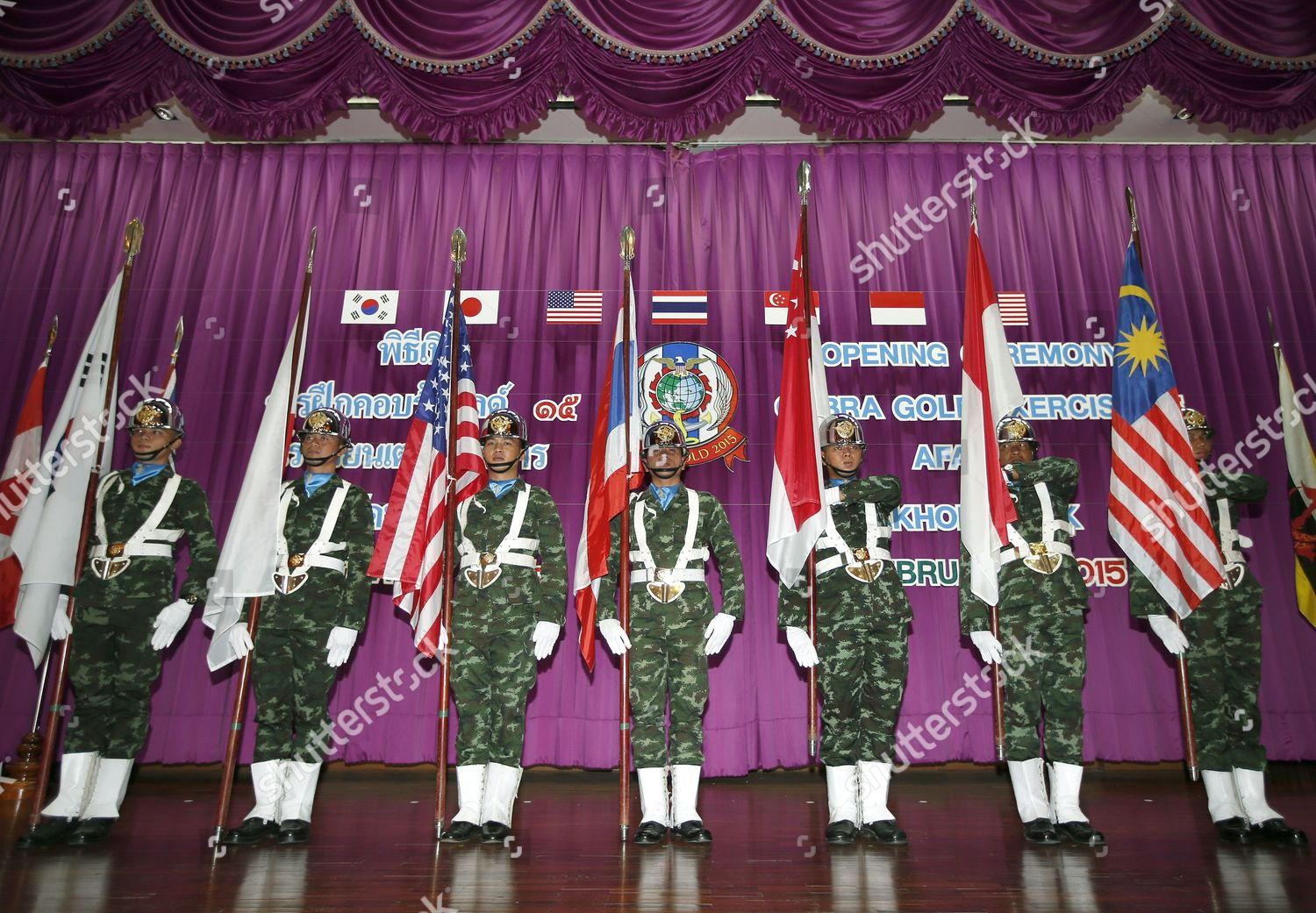 Thai Soldiers Hold National Flags During Opening Editorial