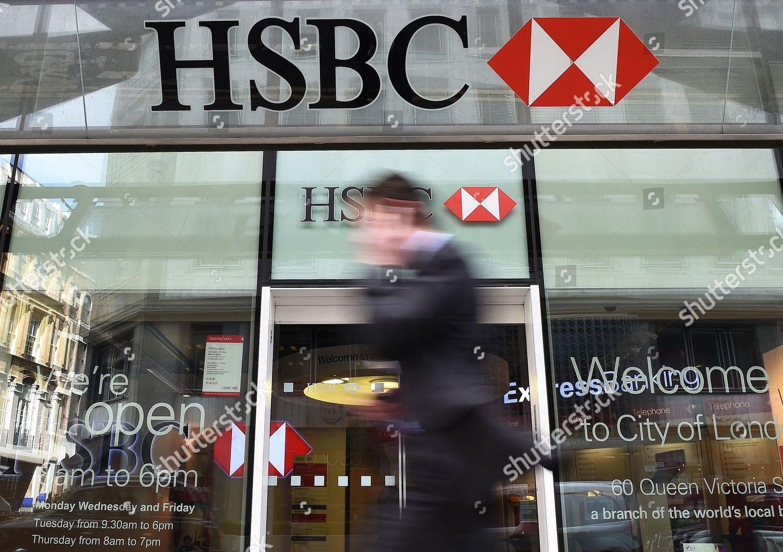 Pedestrian Walks Past Hsbc Bank Branch London Editorial Stock Photo