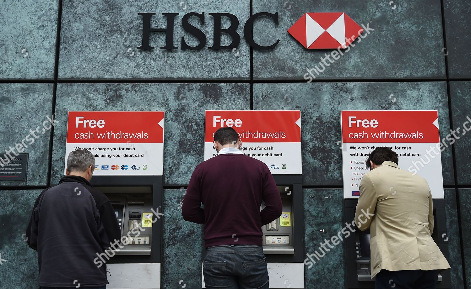 Customers Use Atm Machines Hsbcs City London Editorial Stock