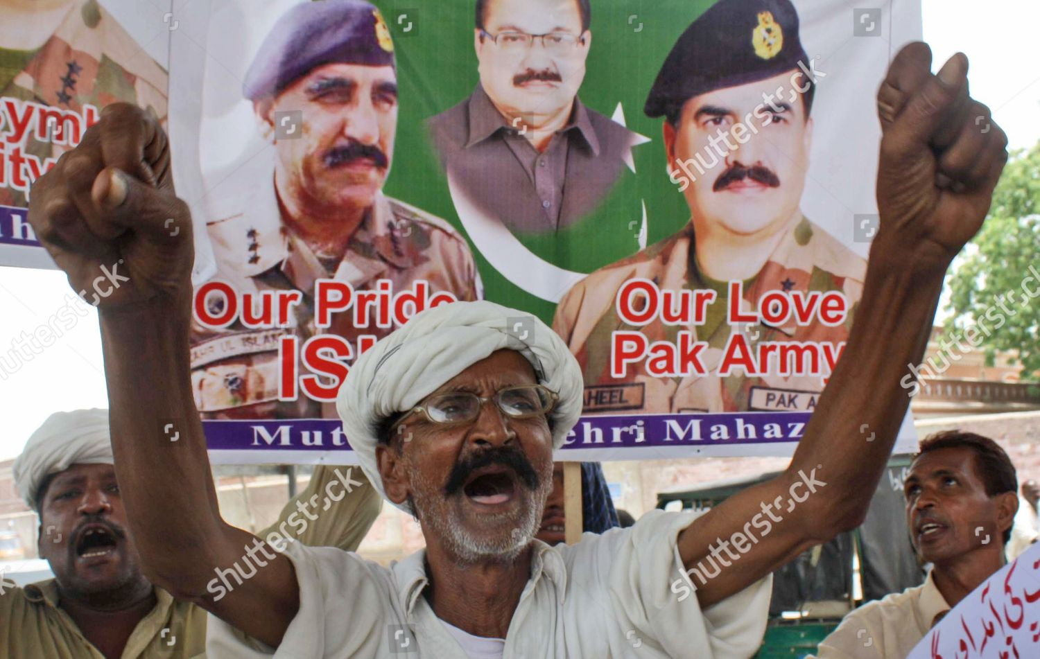 People Carry Pictures Pakistans Army Chief General Editorial