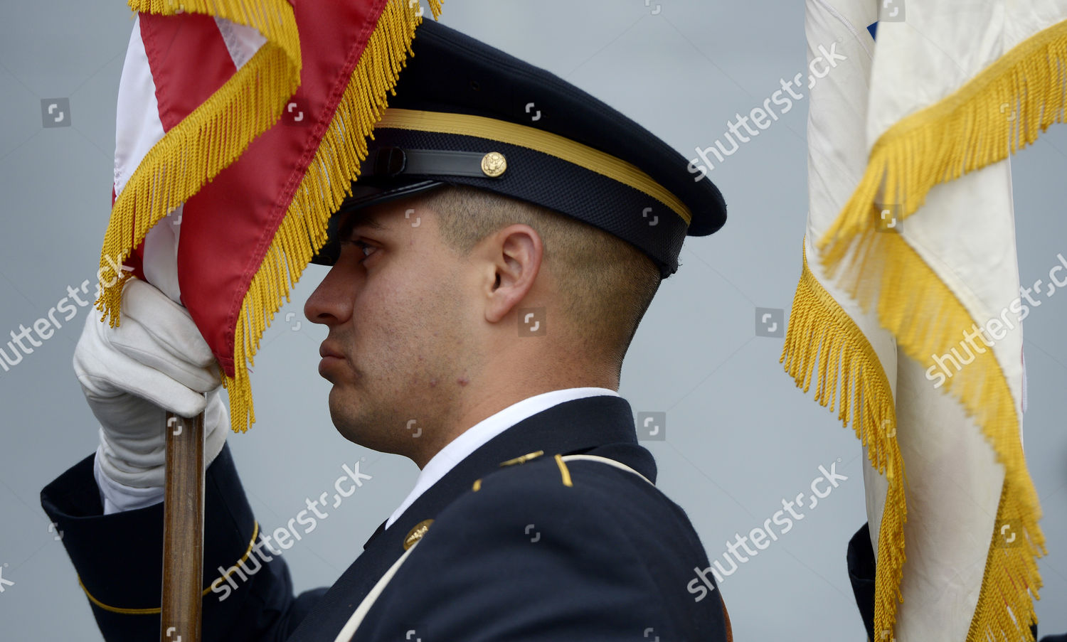 Military Color Guard Prepares Flags Veterans Day Editorial Stock