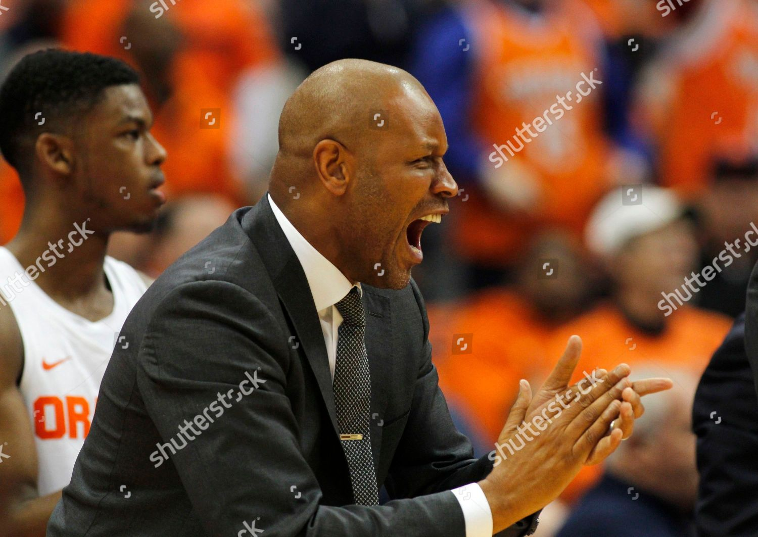 Syracuses Assistant Coach Adrian Autry Yells Second