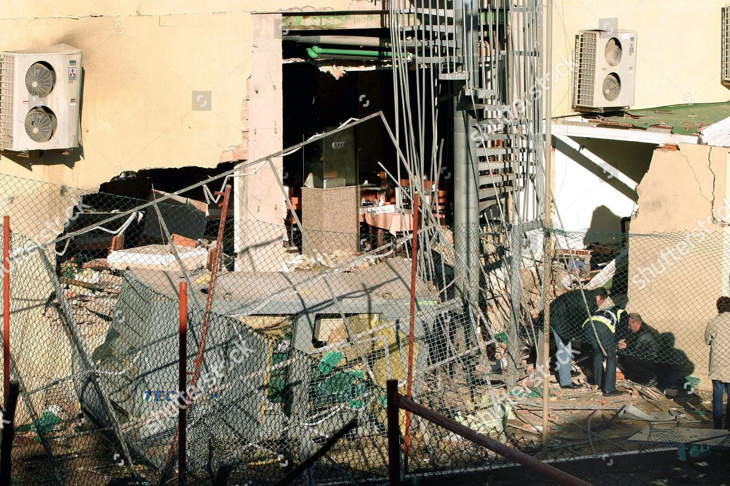 Spanish Police Agents Inspect Debris Port Denia Editorial Stock Electrical Wiring In Spain Eta Bomb Attack Jan 2005