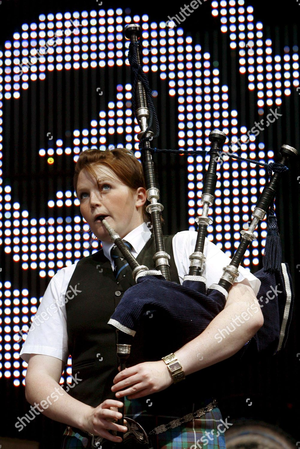 Member National Youth Pipe Band Scotland Plays Editorial Stock Photo