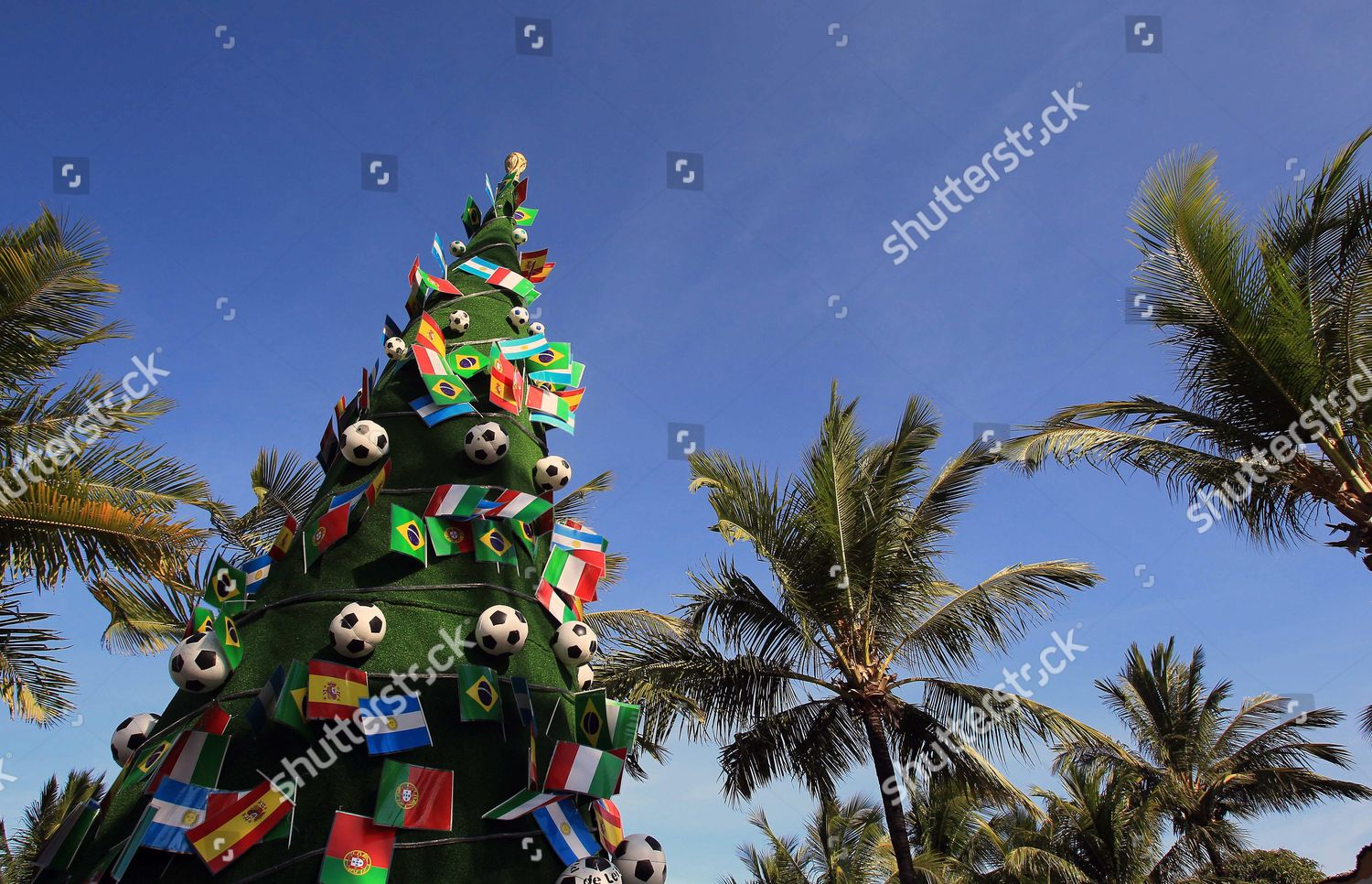 Brazil Christmas.Christmas Tree Decorated Soccer Balls Flags Seen Editorial