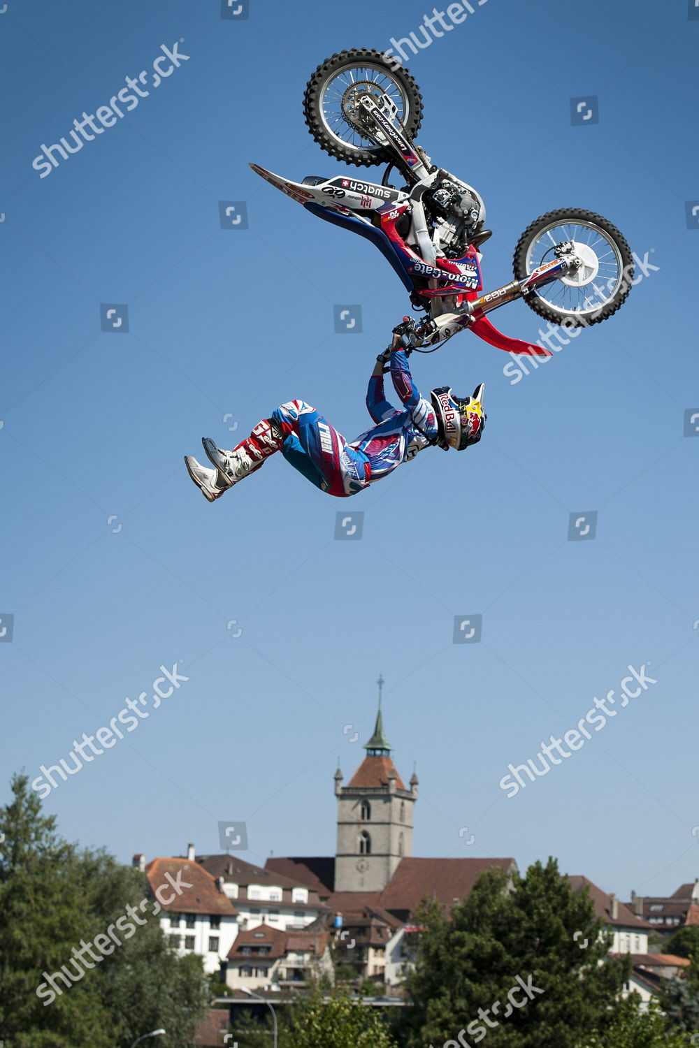 Us Freestyle Motocross Pilot Lance Coury Performs Editorial Stock