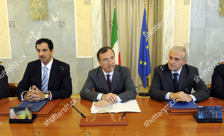 Italian Foreign Minister Franco Frattini c Attending Editorial Stock
