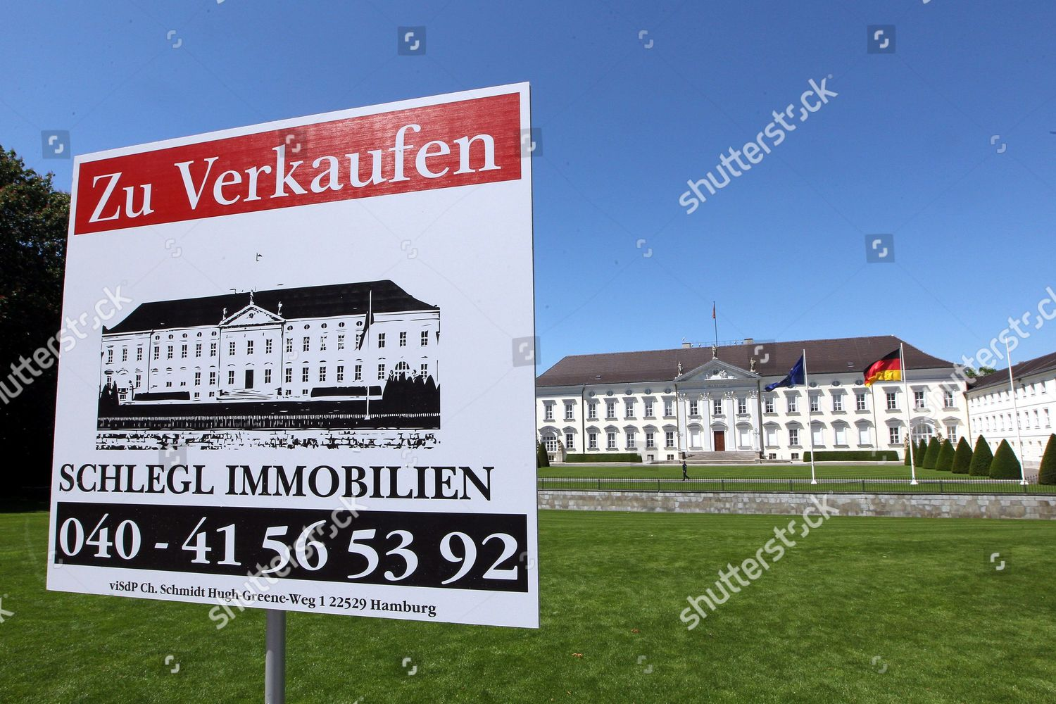 For Sale Sign Placed Front Bellevue Palace Editorial Stock Photo