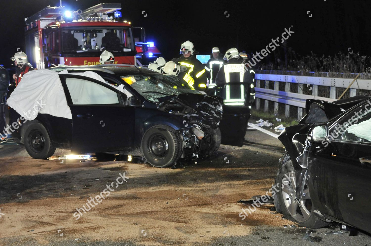 Emergency Services Scene Fatal Car Accident on Editorial