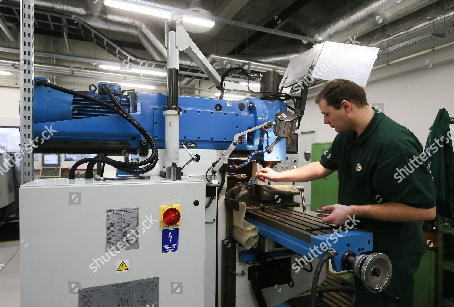 Worker Handles One Machines Coin Minting Process Editorial Stock