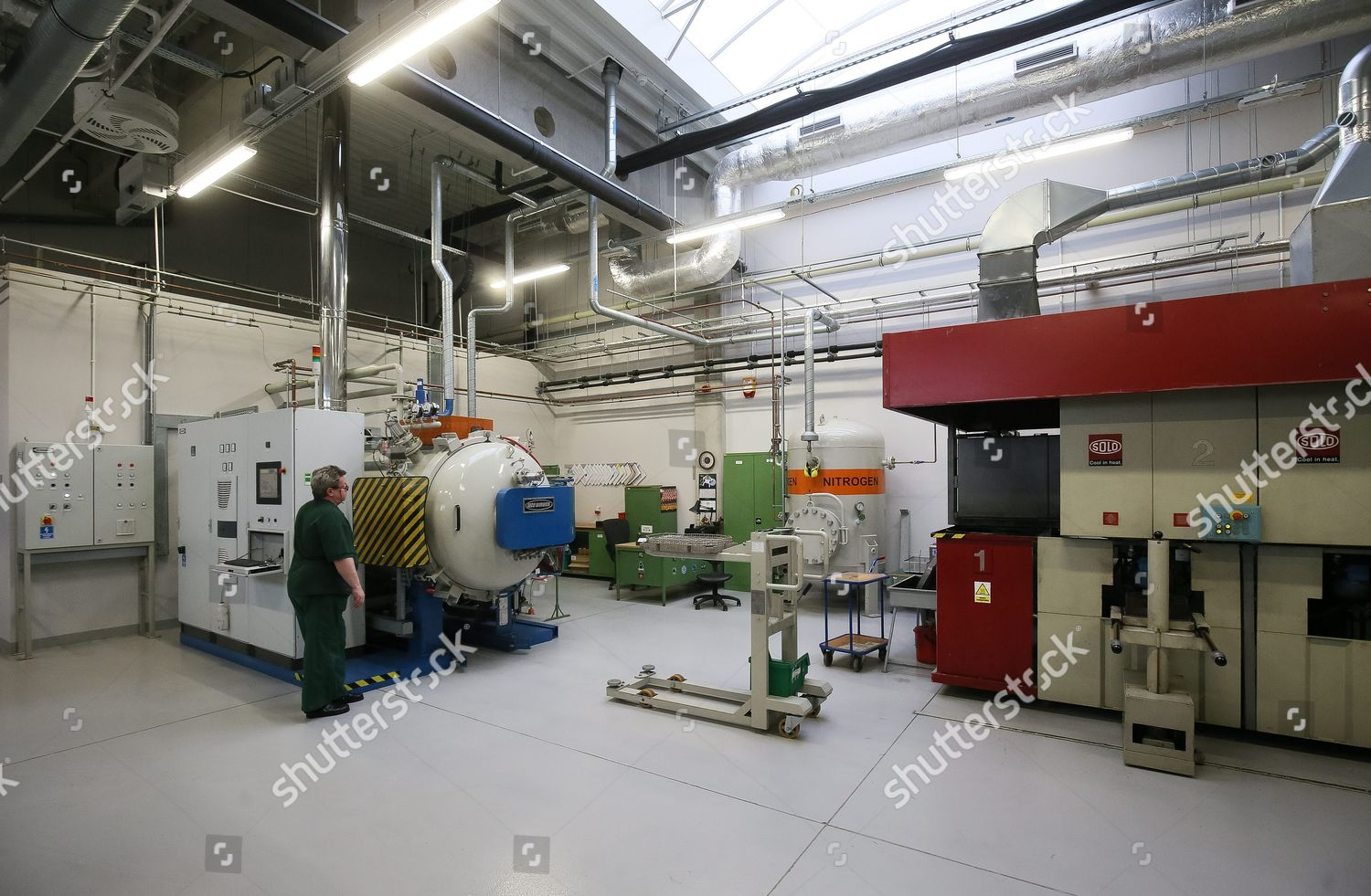 Worker Monitors One Machines Coin Minting Process Editorial Stock