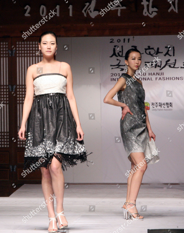 Models Present Clothes Made Hanji traditional Korean Editorial