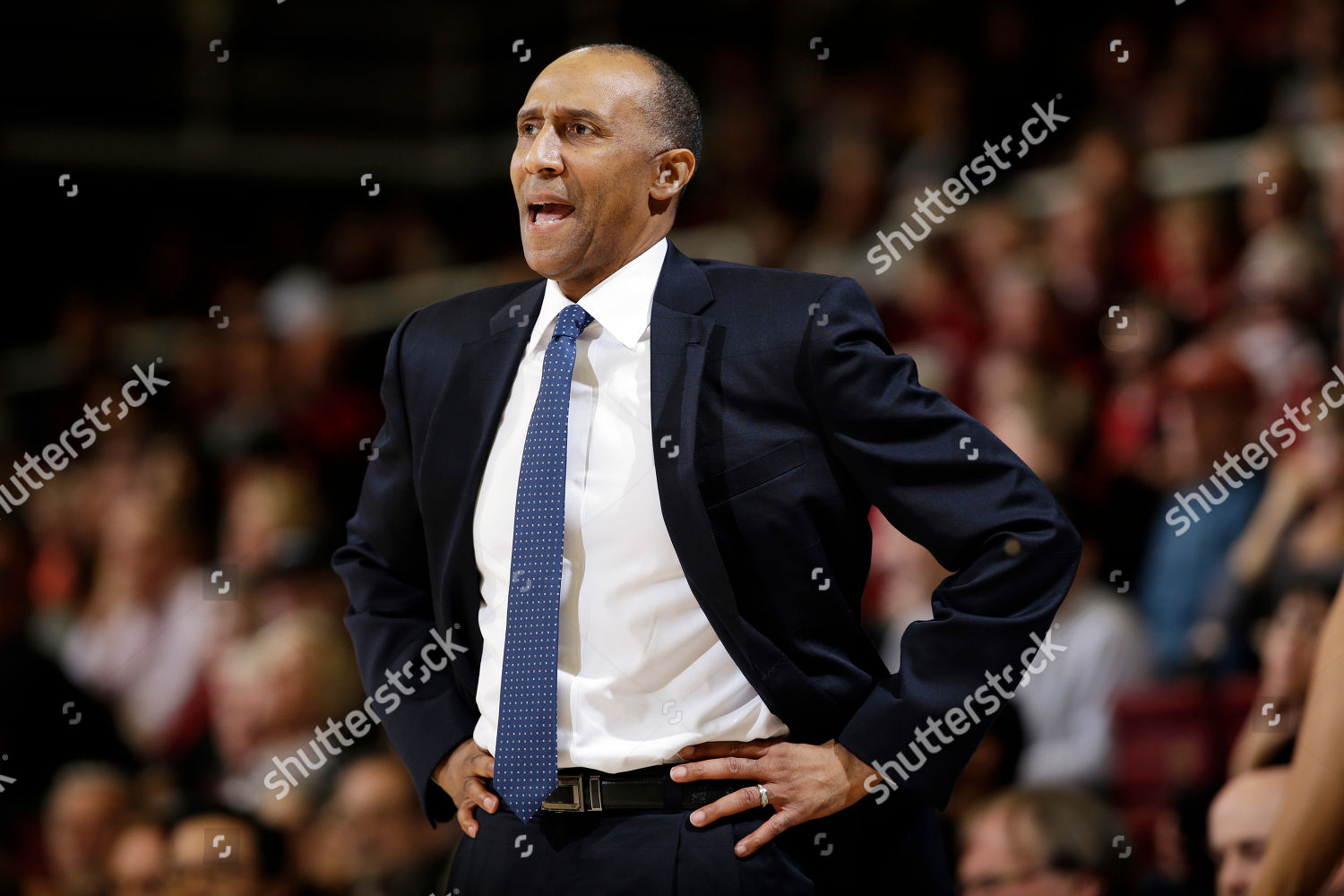 Stanford head coach Johnny Dawkins watches plays Editorial