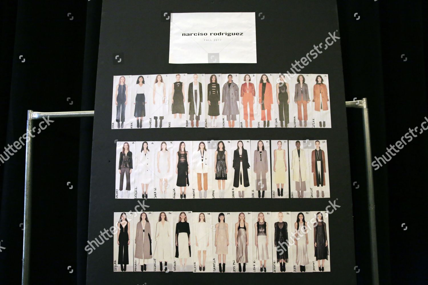 model lineup board seen backstage before start Editorial