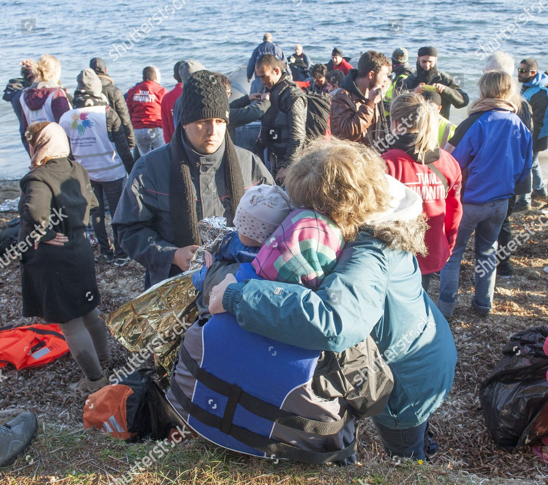 Migrants Arriving By Boat Turkey On Greek Editorial Stock
