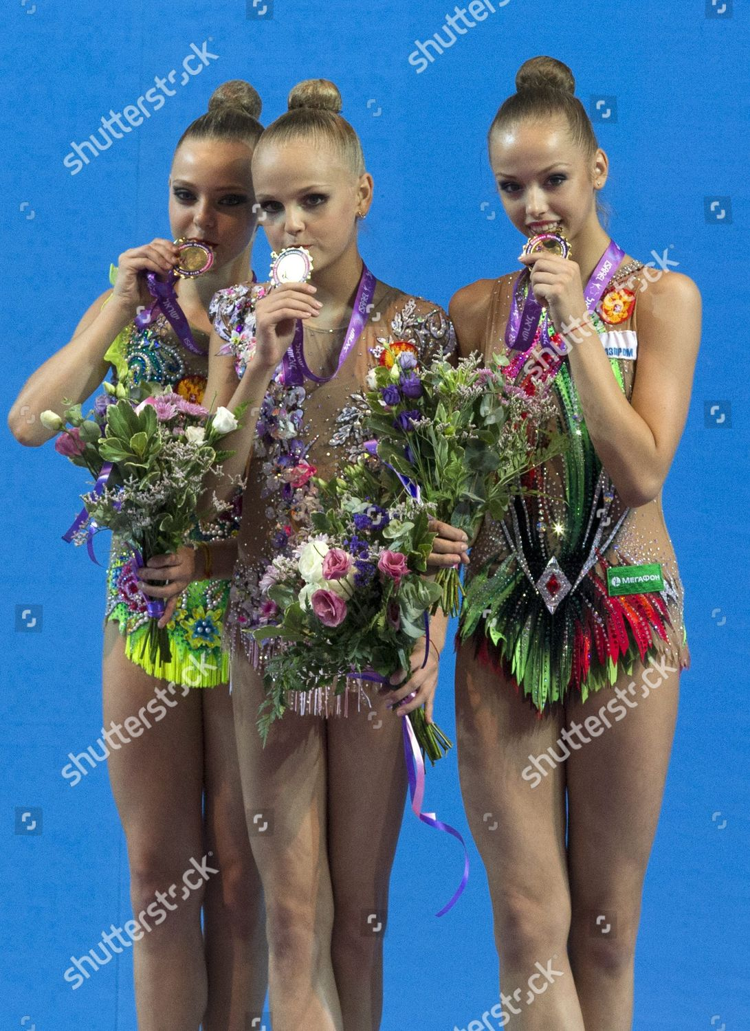 Members Russian Team Kiss Their Gold Medals Editorial Stock Photo