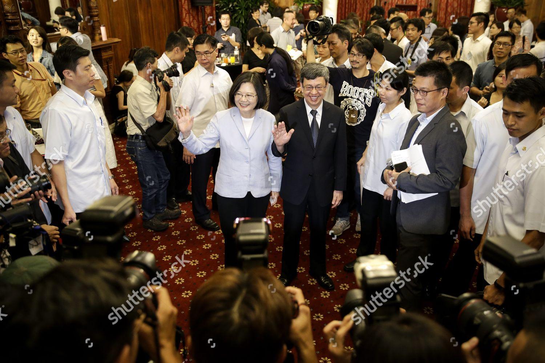 Taiwan President Tsai Ingwen cl Vice President Editorial Stock Photo