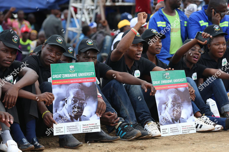 People attending Zimbabwean President Robert Mugabes 93rd