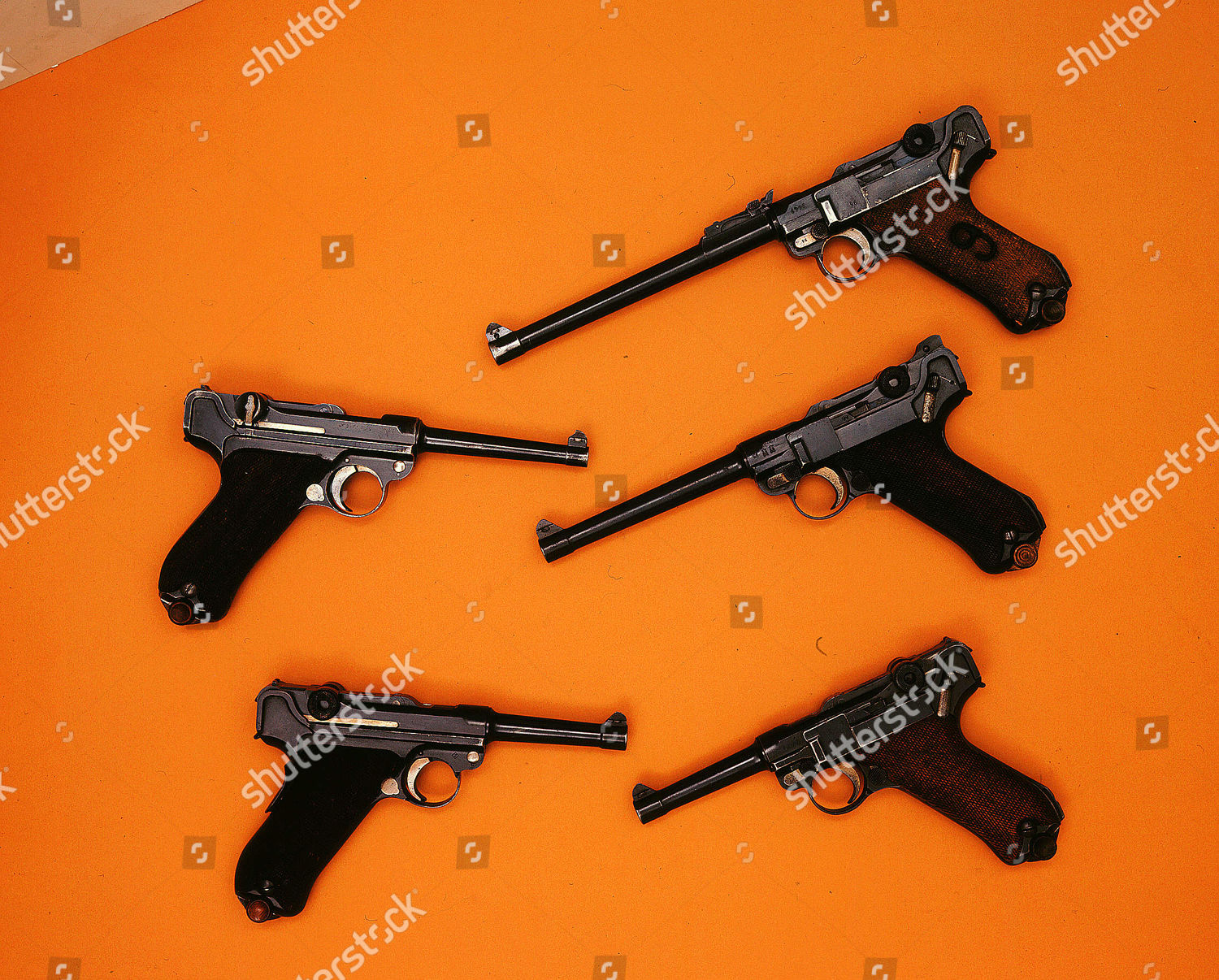 Luger 9mm automatic pistols 48 inch barrels Editorial Stock Photo