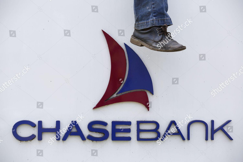 Man Sits on Top Kenyas Chase Bank Editorial Stock Photo