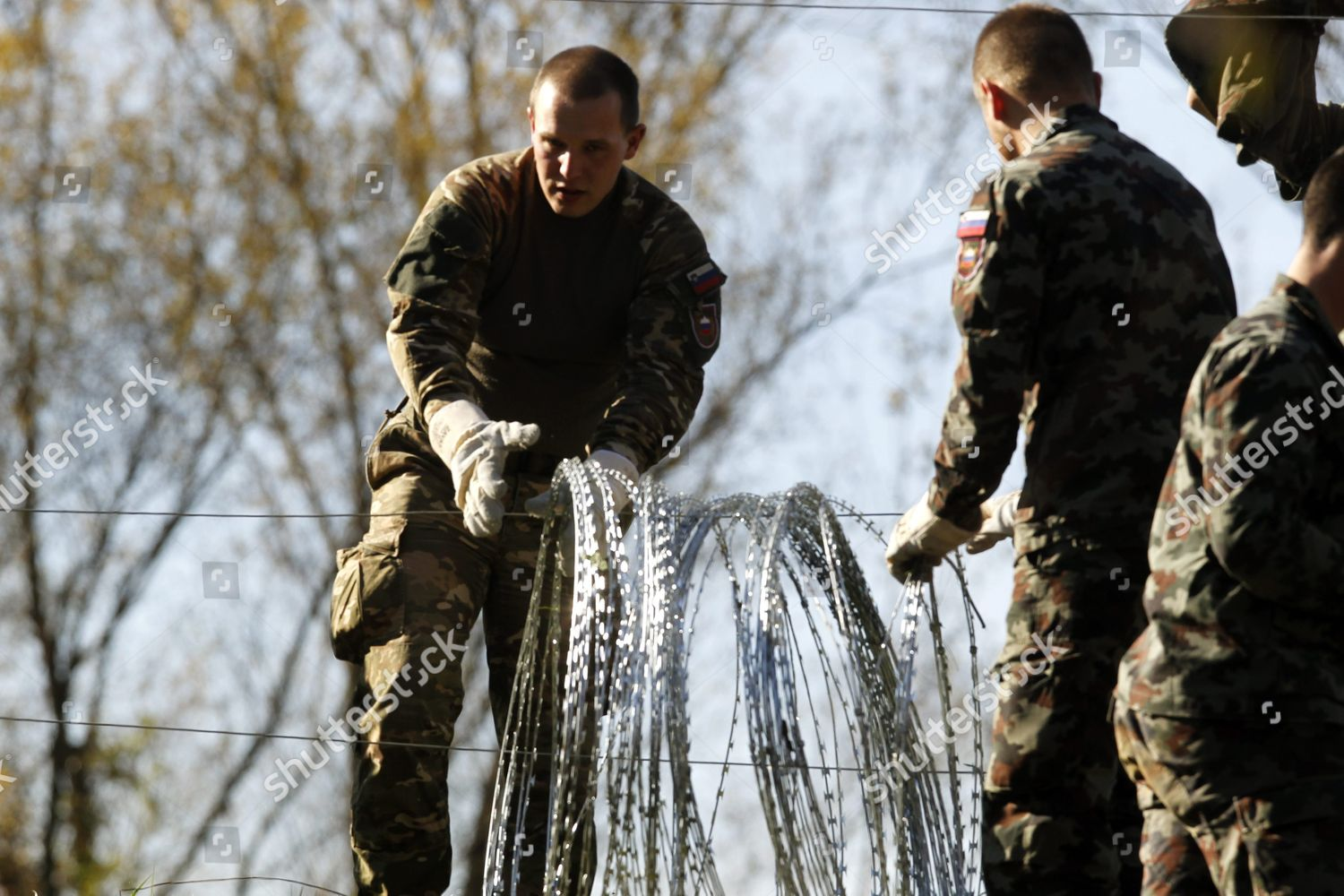 Members Slovenian Army Build Barbed Wire Barrier Editorial Stock