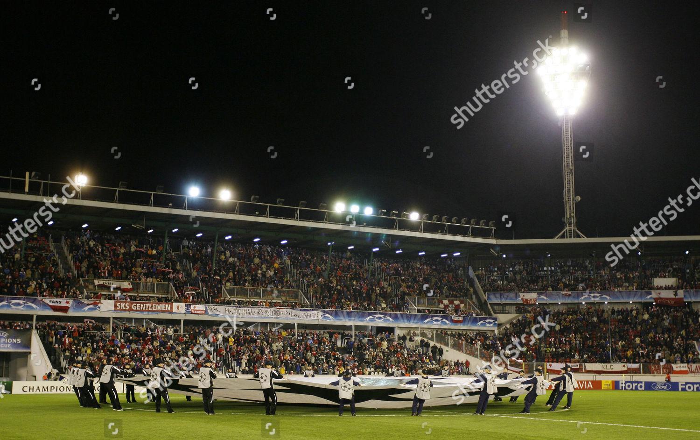 Ford UEFA Champions League mascots Strahov Stadium Editorial
