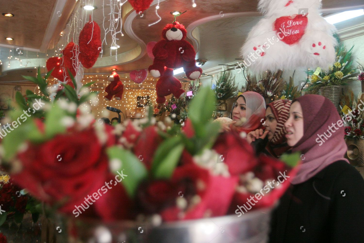 Palestinian Women Buy Flowers Valentines Day Editorial Stock Photo