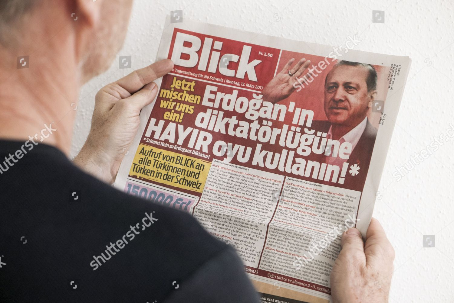 Person Looks Front Page Swiss Newspaper Blick Editorial