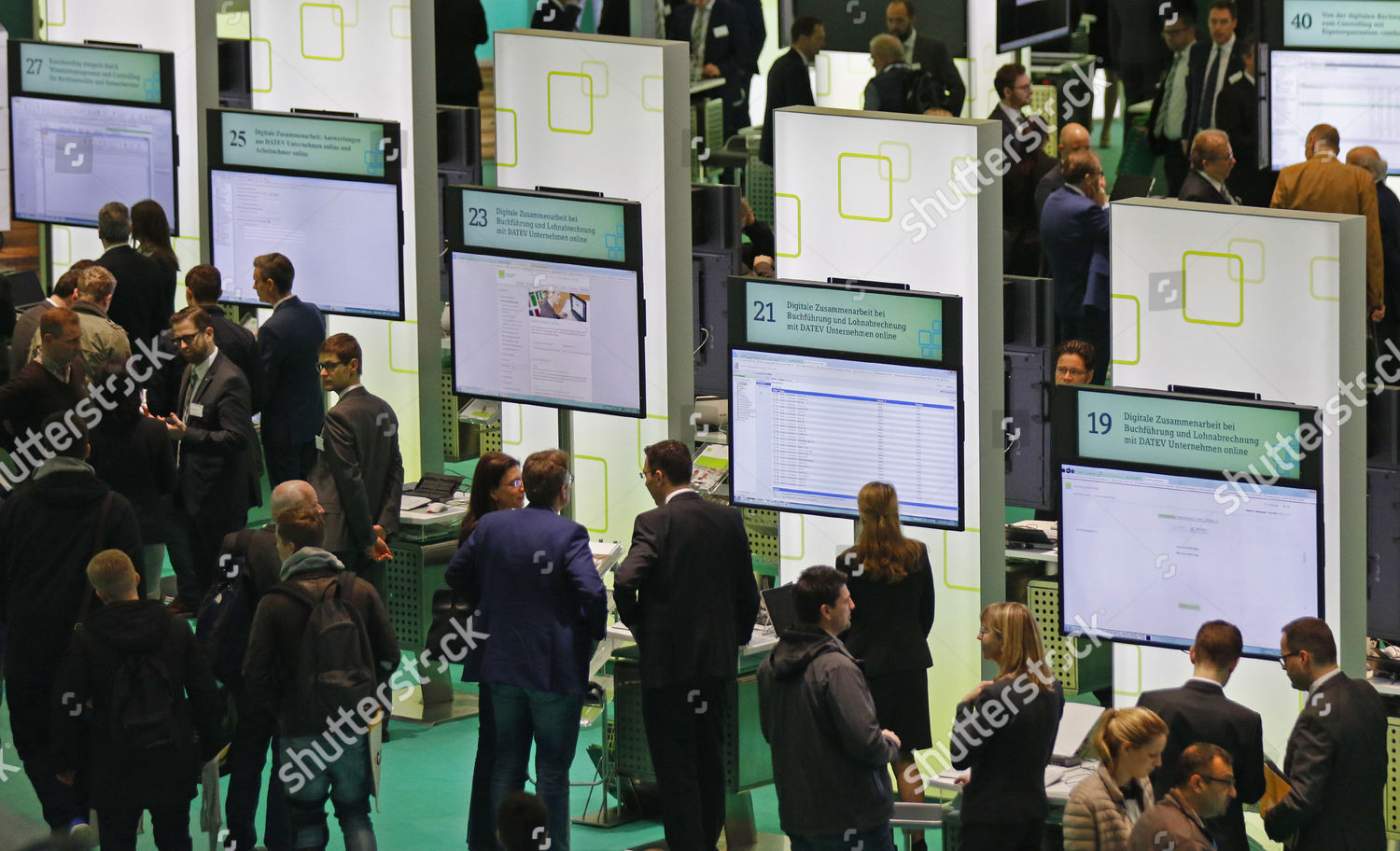 Visitors stand booth German software maker service Editorial