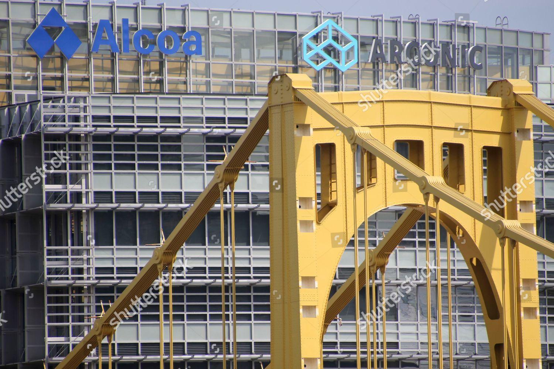 Alcoa Seventh Street Bridge Arconic Pittsburgh sign Editorial Stock