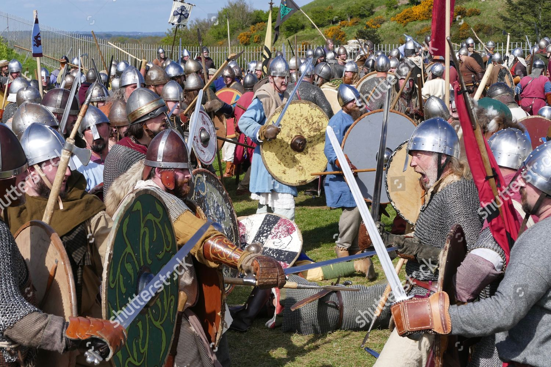 Reenactors fight out Saxon Viking Battle Corfe Editorial