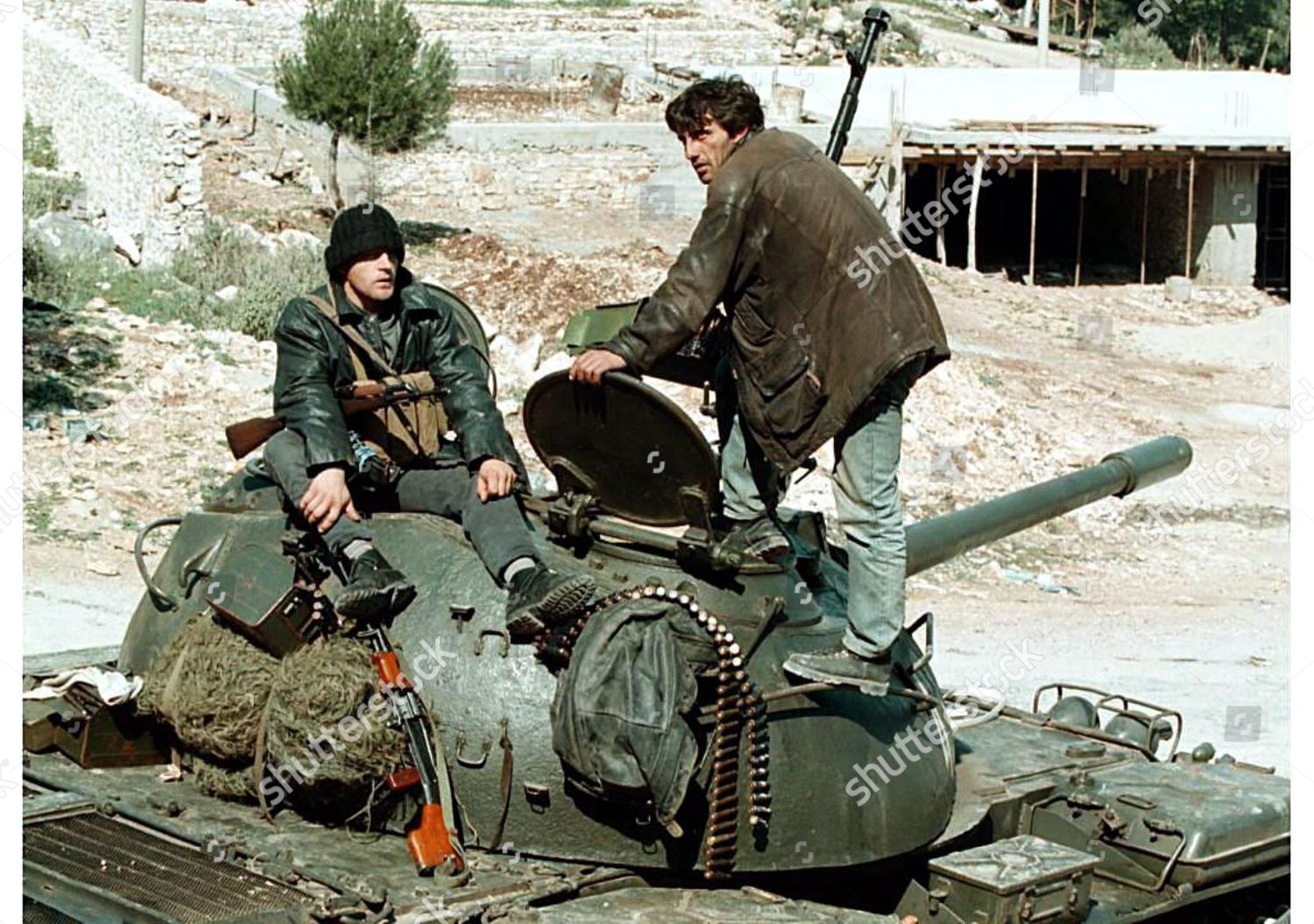 Armed Men Sit Atop T55 Tank Checkpoint Editorial Stock Photo - Stock Image  | Shutterstock