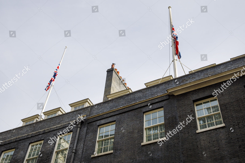 Union flags seen half mast Downing Street Editorial Stock