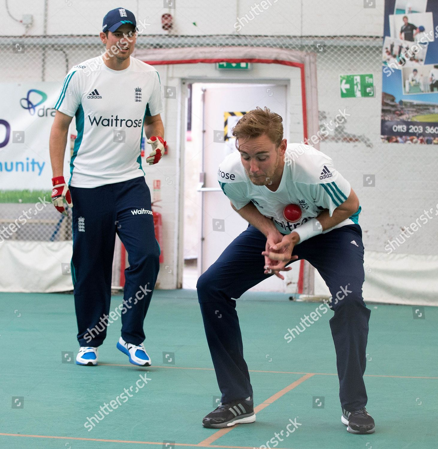 England Stuart Broad Alastair Cook During Nets Editorial