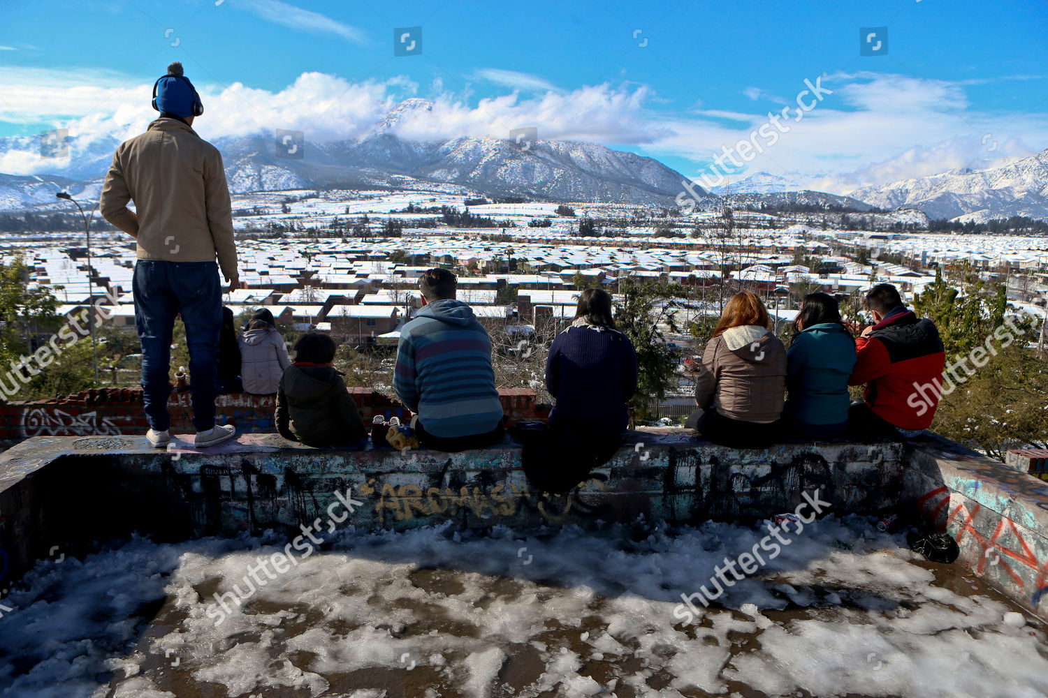 People Look Out Snowcovered Landscape Santiago Chile Editorial Stock Photo Stock Image Shutterstock